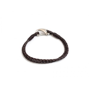 HiHo Silver plaited leather bracelet - Brown in Brown
