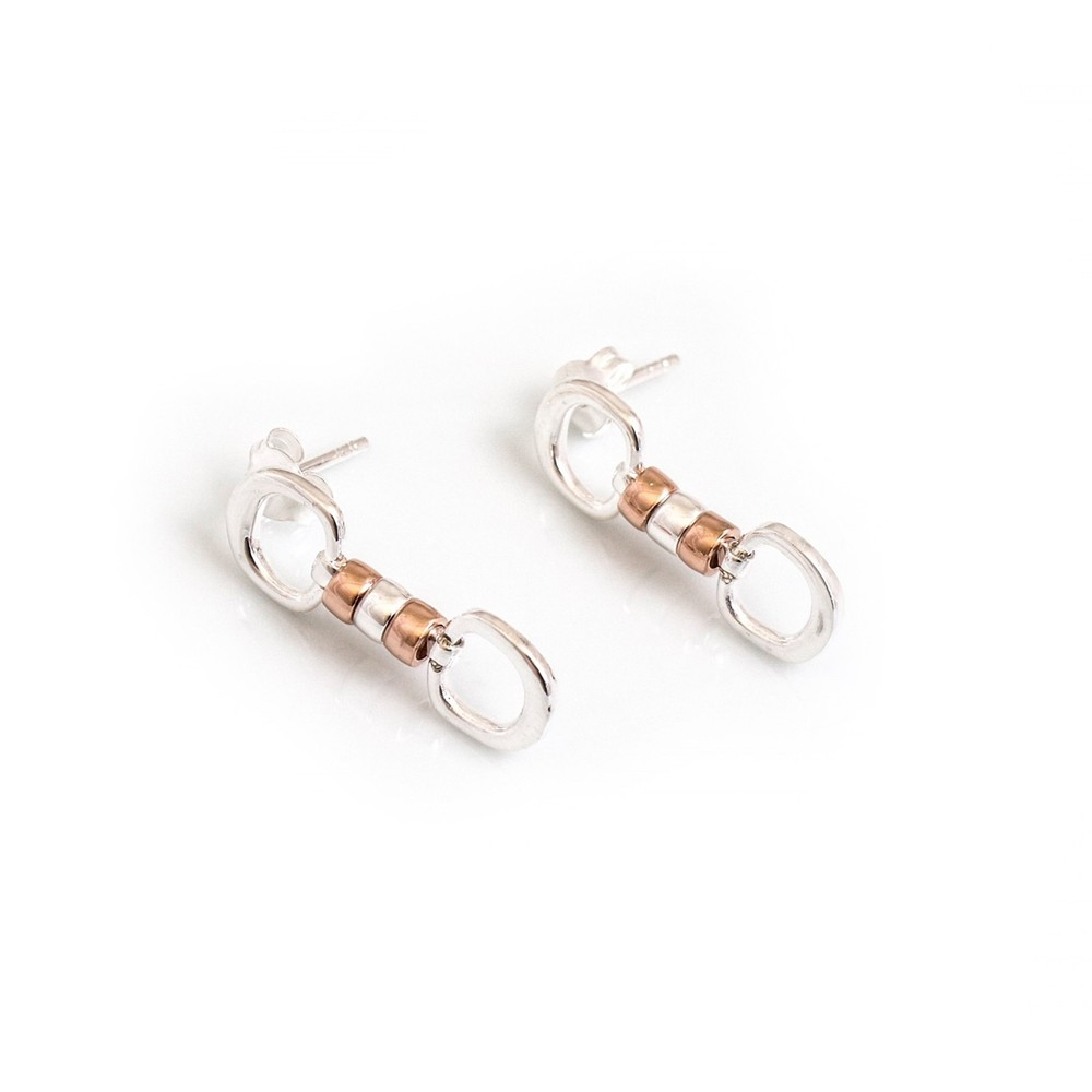 HiHo Silver Silver & 18ct Rose Gold cherry roller earrings
