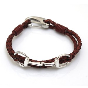 HiHo Silver Exclusive Equestrian Sterling Silver Snaffle Leather Bracelet - Brown in Brown