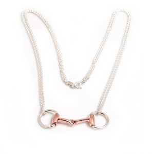 HiHo Silver Sterling Silver & 18ct Rose Gold Vermeil Double Chained snaffle necklace