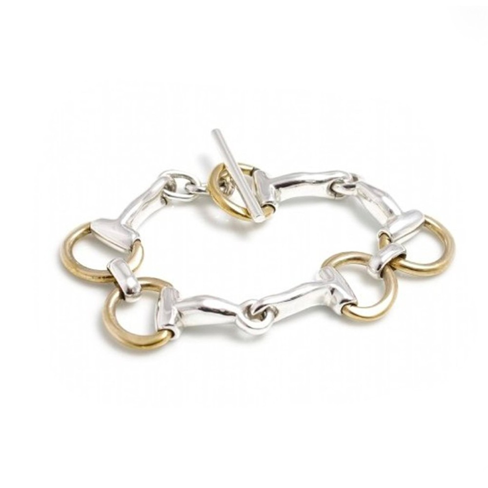 HiHo Silver Classic Sterling Silver And Two Tone Snaffle Bracelet
