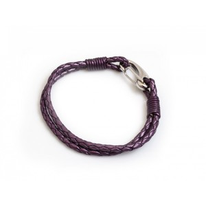 HiHo Silver plaited leather bracelet - Berry in Berry