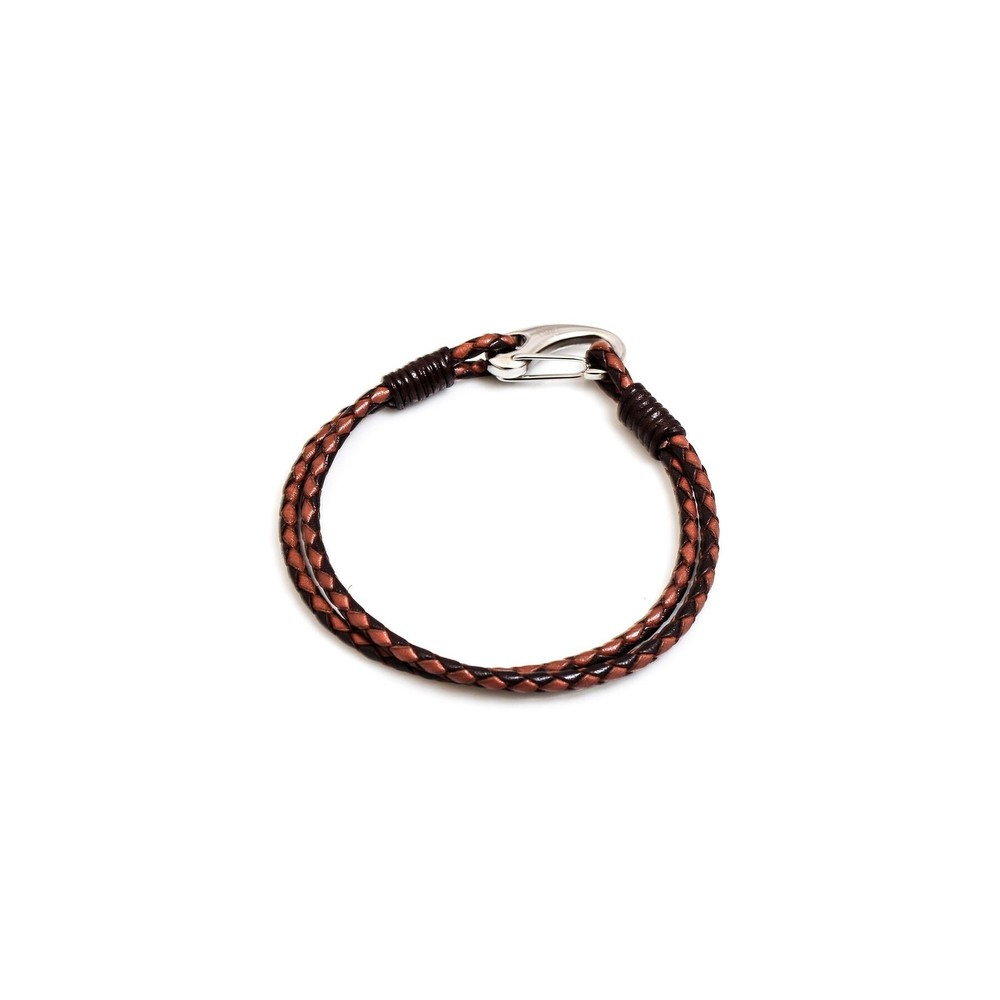 HiHo Silver plaited leather bracelet -Two Tone in Two Tone