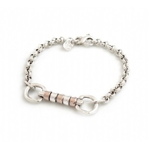 HiHo Silver Exclusive sterling silver and 18ct Rose Gold plated cherry roller fob bracelet