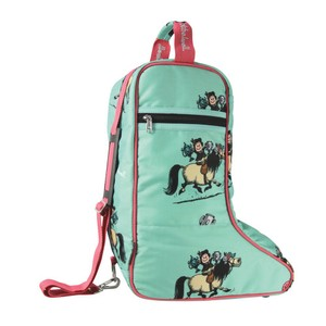 Hy Equestrian Thelwell Collection Trophy Jodhpur Boot Bag - Mint/Pink in Mint/Pink