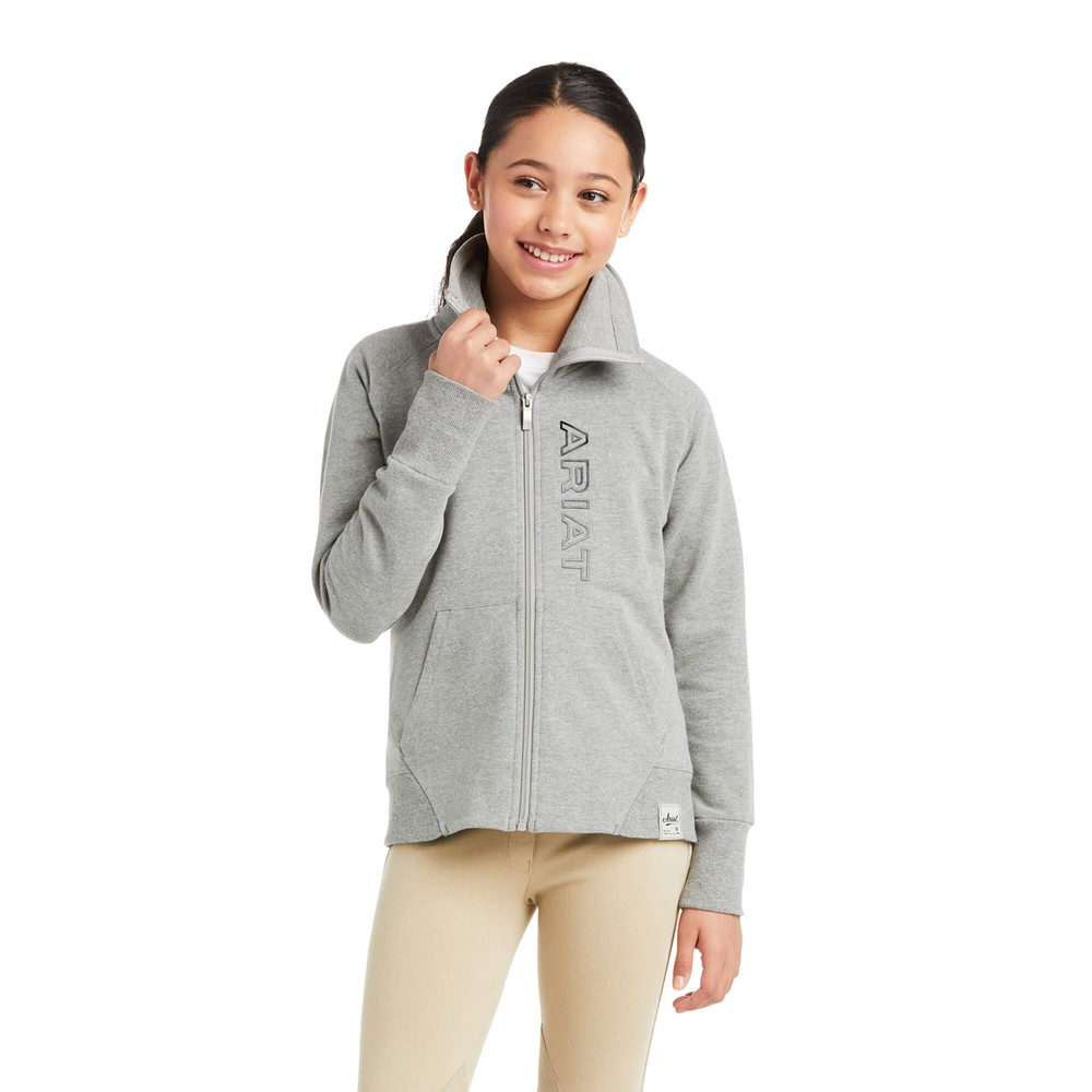 Ariat Kids Team Logo Sweatshirt - Heather Grey in Grey