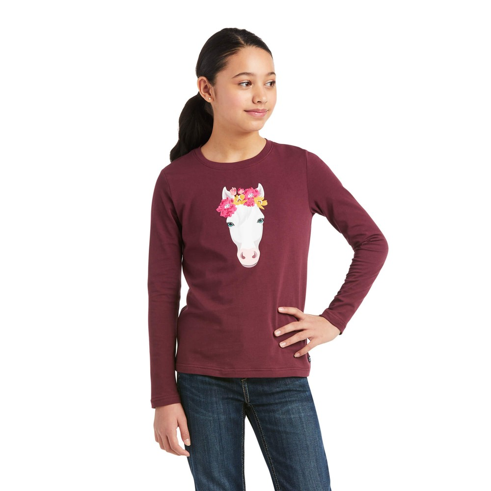 Ariat Kids Flower Crown Long Sleeve T-Shirt - Windsor Wine in Windsor Wine