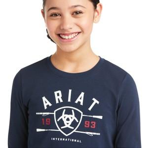 Ariat Kids Int'L Logo Long Sleeve T-Shirt - Navy in Navy