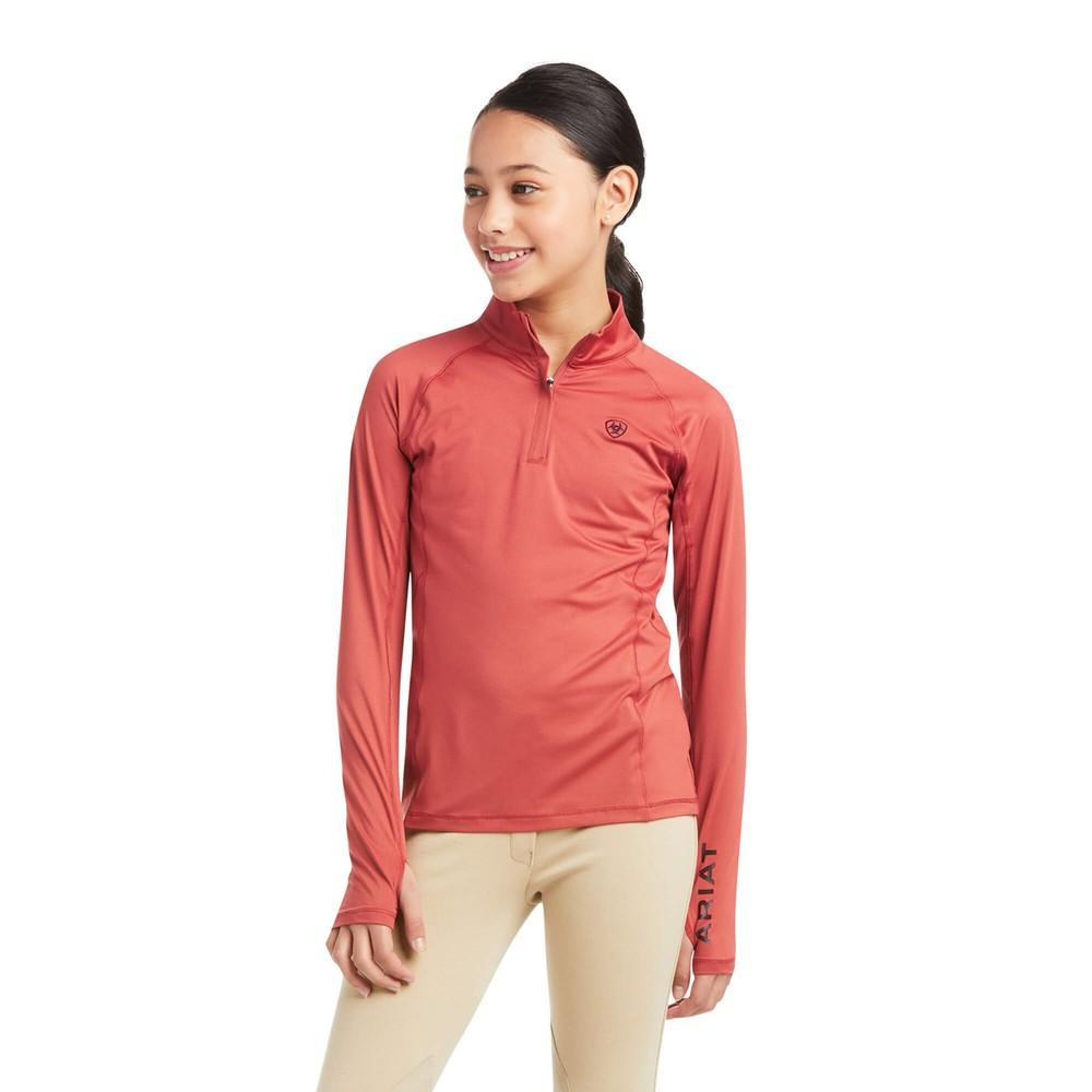 Ariat Kids Lowell 2.0 ¼ Zip Long Sleeve Baselayer - Marsala in Marsala