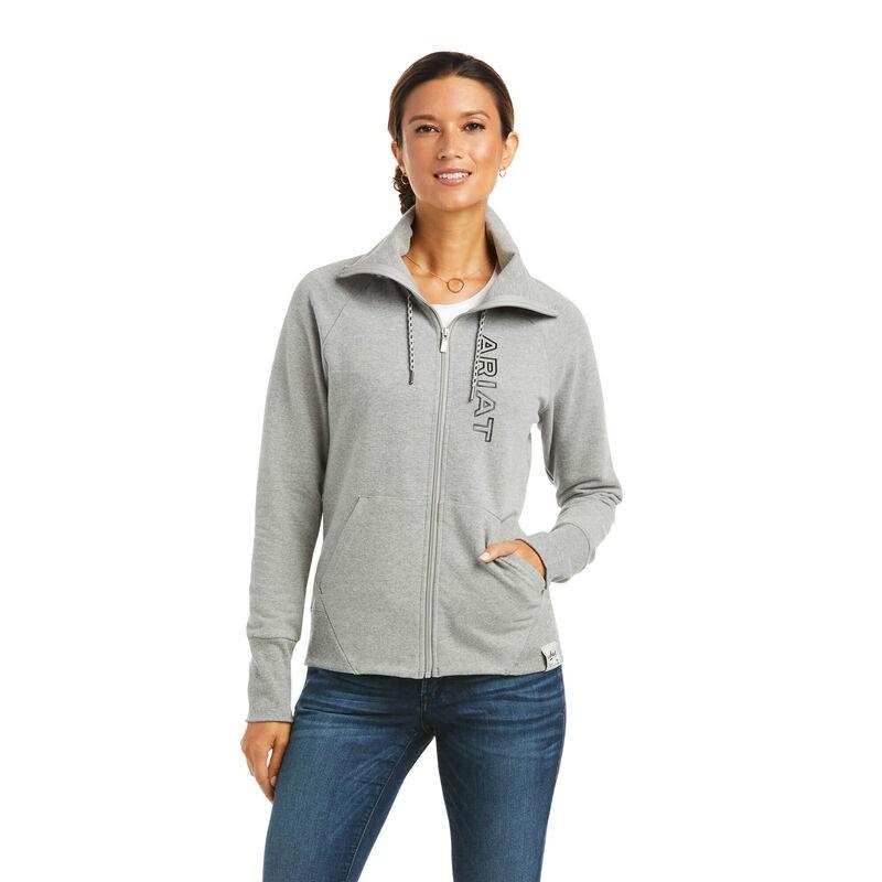 Ariat Womens Team Logo Full Zip Sweatshirt - Heather Grey in Heather Grey