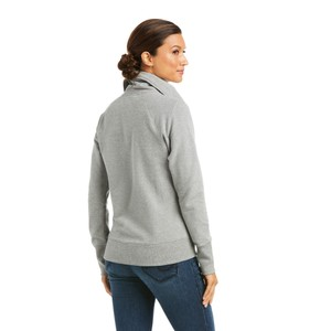 Ariat Womens Team Logo Full Zip Sweatshirt - Heather Grey