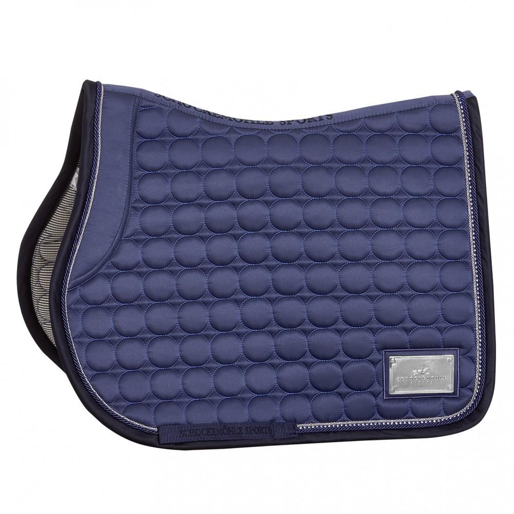 Schockemohle Sanya Saddle Pad - GP Style - Jeans Blue/Logo in Jeans Blue/Logo