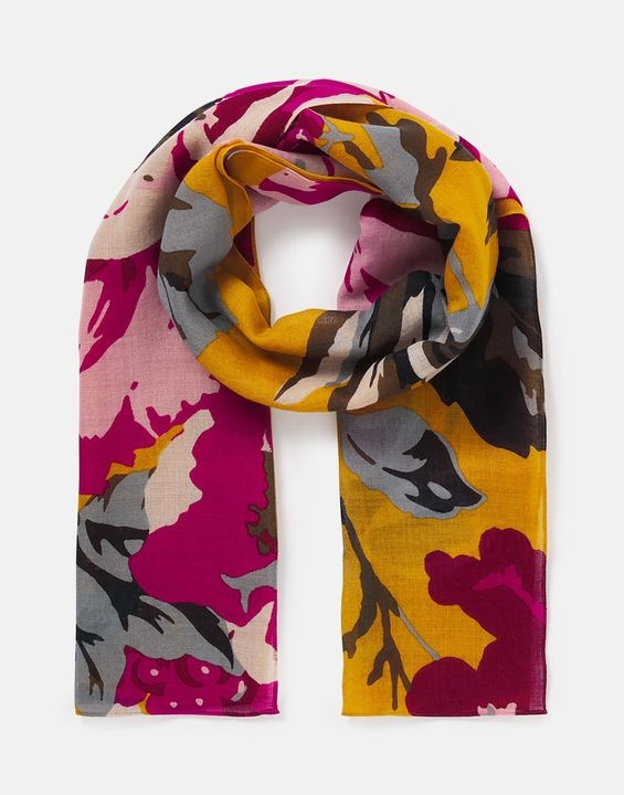 Joules Julianne Scarf - Gold Floral in Gold Floral