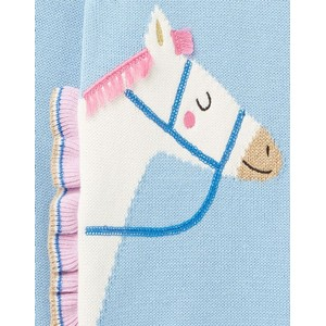Joules Kids Geegee Knitted Jumper - Blue Horse in Blue Horse