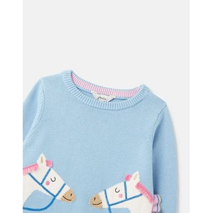 Joules Kids Geegee Knitted Jumper - Blue Horse