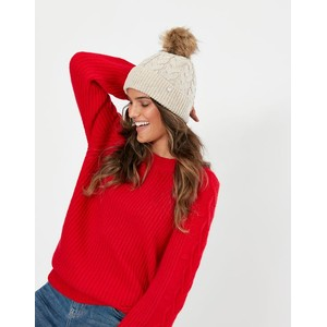 Joules Elena Cable Hat - Cream