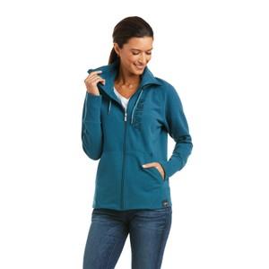 Ariat Women's Team Logo Full Zip Sweatshirt - Eurasian Teal in Eurasian Teal