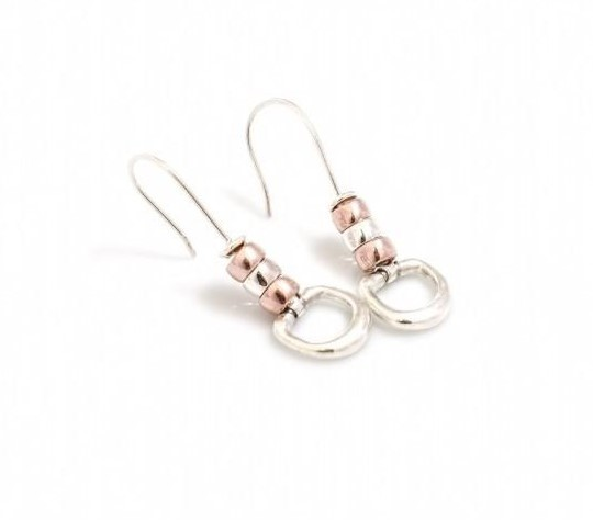 HiHo Silver Exclusive Sterling Silver & 18ct Rose Gold Plate Cherry Roller Snaffle Earrings