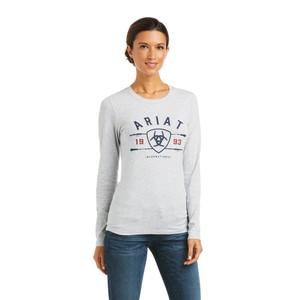 Ariat Women's International Logo Long Sleeve T-Shirt - Heather Grey in Heather Grey