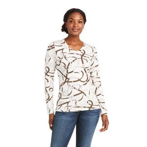 Ariat Women's Bridle Print Long Sleeve T-Shirt - Sea Salt in Sea Salt