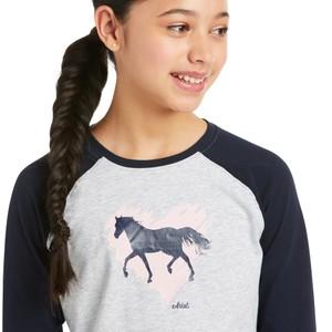 Ariat Kids' Heart of My Heart T-Shirt - Heather Grey/Navy