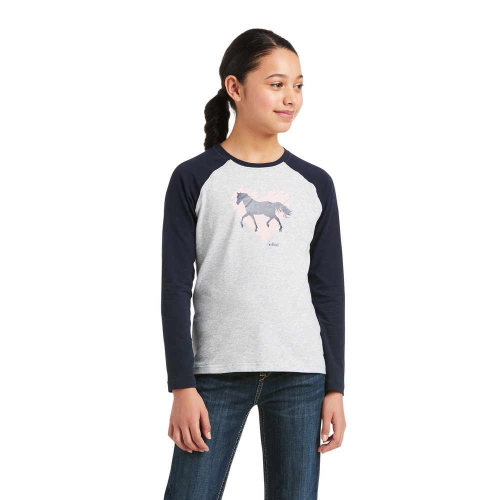 Ariat Kids' Heart of My Heart T-Shirt - Heather Grey/Navy in Heather Grey/Navy