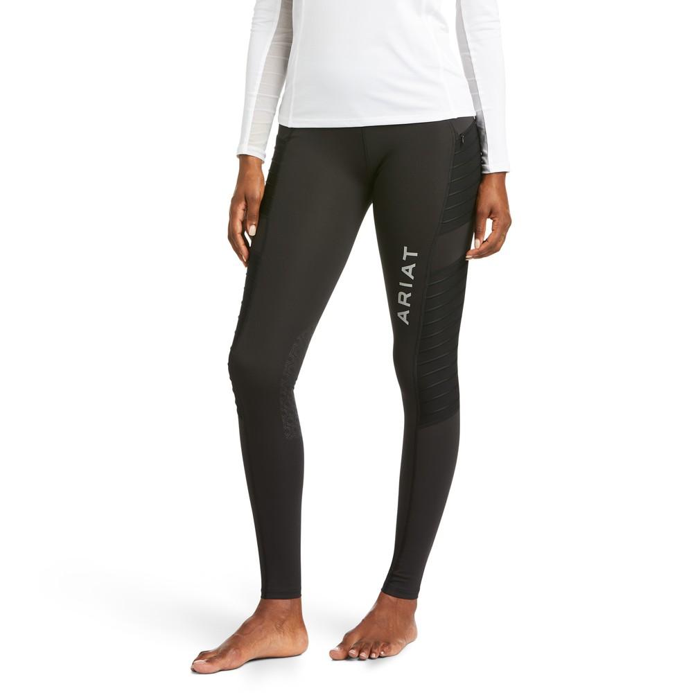 Ariat Women's Eos Moto Knee Patch Tight - Black in Black