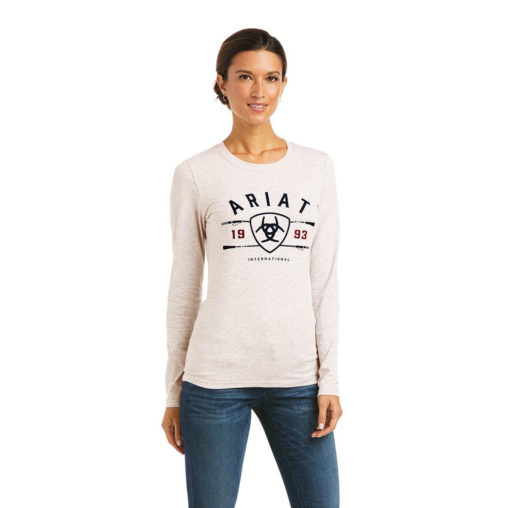 Ariat Women's International Logo Long Sleeve T-Shirt - Oatmeal in Oatmeal