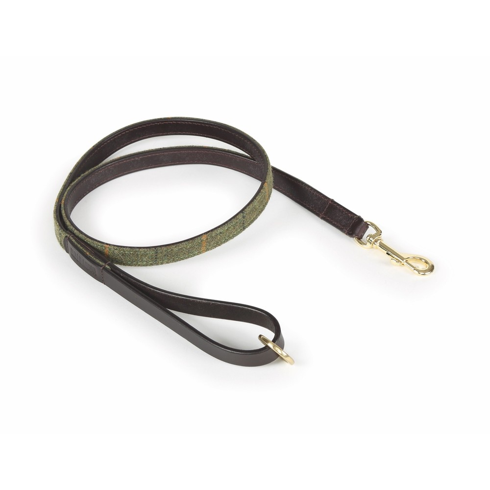 Digby & Fox Tweed Dog Lead - Red/Yellow/Blue Check in Red/Yellow/Blue Check