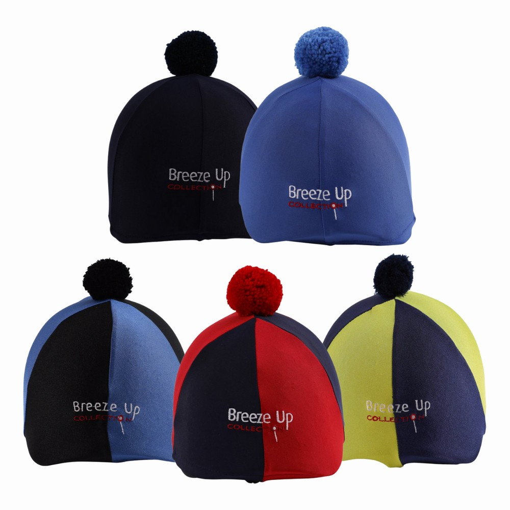 Celtic Equine Supplies Breeze Up Lycra Hat Cover with Bobbin in Black/Royal