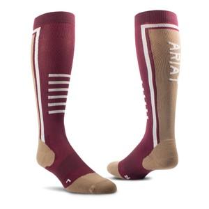 Ariat TEK Slimline Performance Socks - Windsor Wine/Woodsmoke in Windsor Wine/Woodsmoke